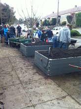 Volunteers Building Garden Boxes