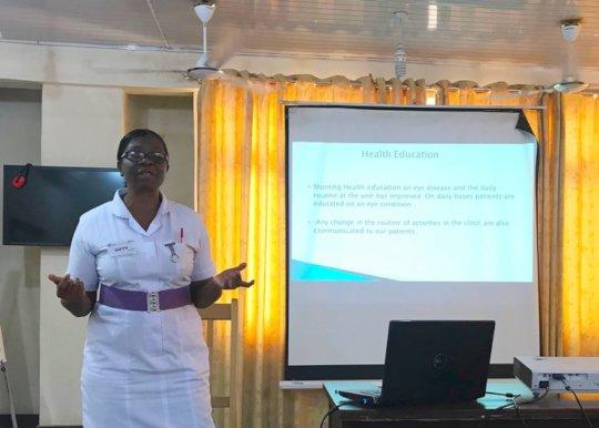Head Nurse Gifty giving presentation