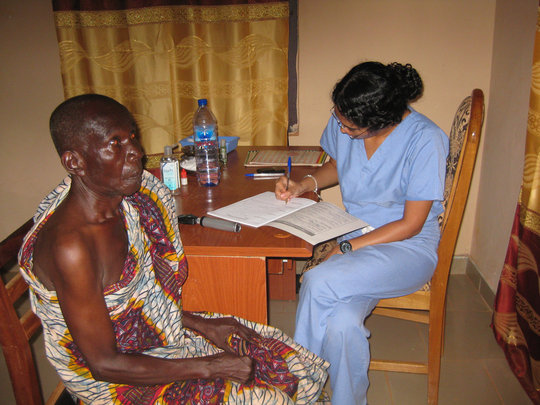 A patient being screened