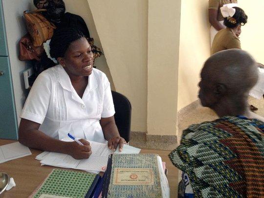 Nurse examines a patient