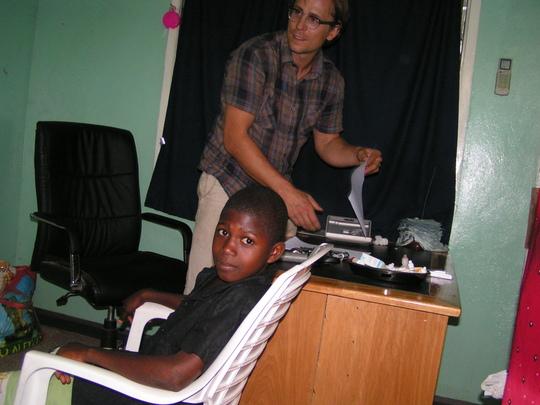 Dr. Bujak examining a patient