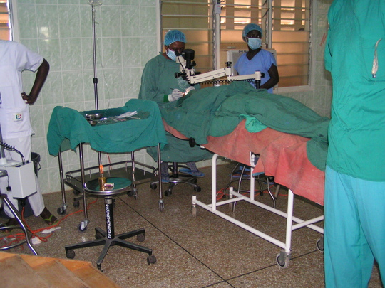 Dr. Lartey performing sight-restoring surgery