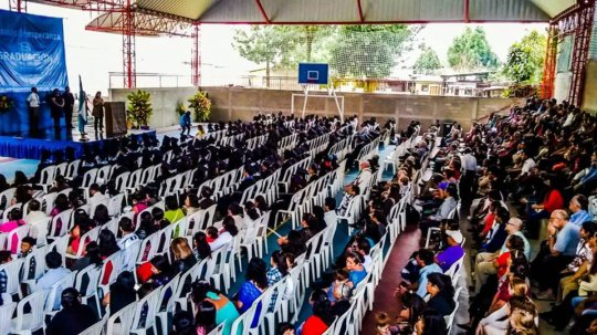 A shot of the graduation ceremony at Common Hope