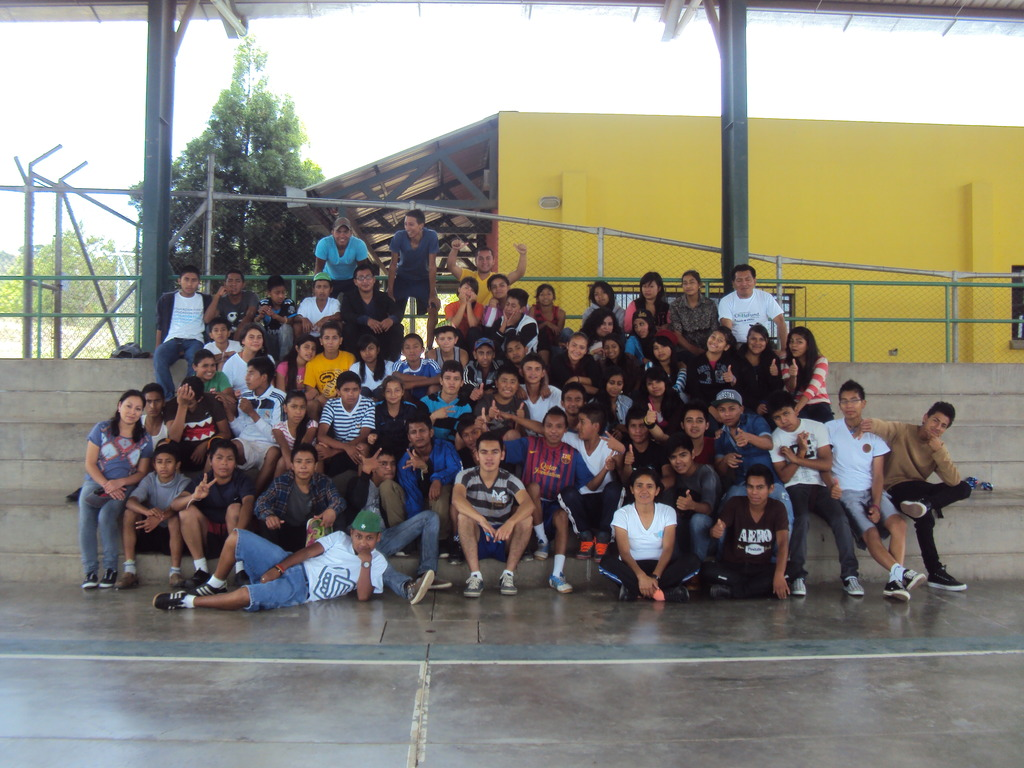 The youth group (Henry in back row, yellow shirt).