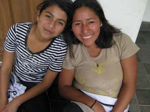 Jocelyn (left) with a friend at a youth activity.