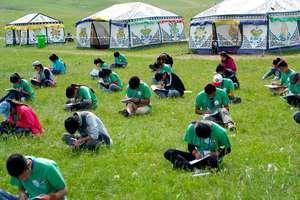 Students taking language placement exam