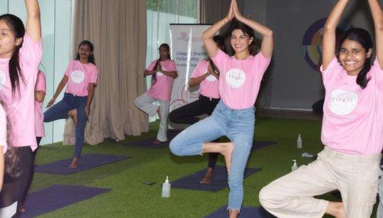 Shalinis doing Yoga