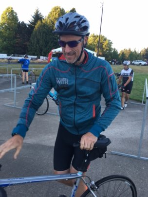 Nate catches his breath after finishing 104 miles