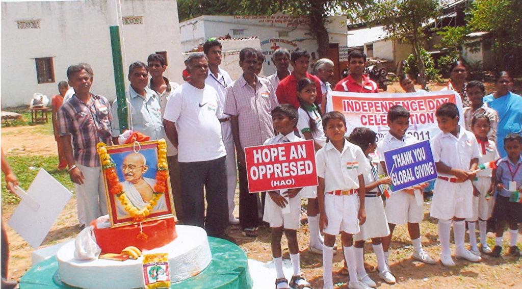 "CHILDREN & PARENTS HONORING ""FATHER OF NATION"""