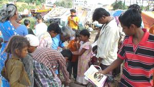 children are excited to receive literacy material