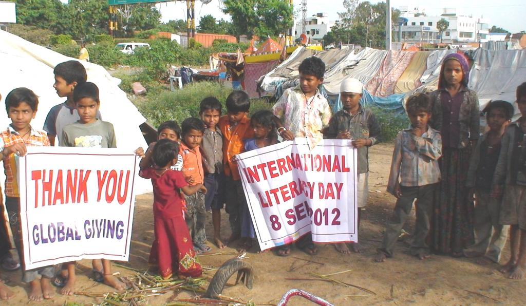 Children extending thankfulness to globalgiving