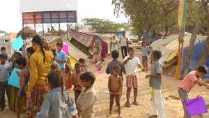 children's immediate action in flying kites