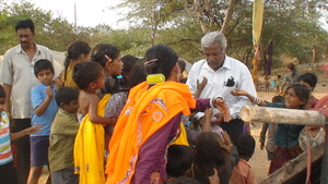 children eager to receive snacks