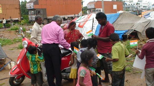 children receiving chocolates