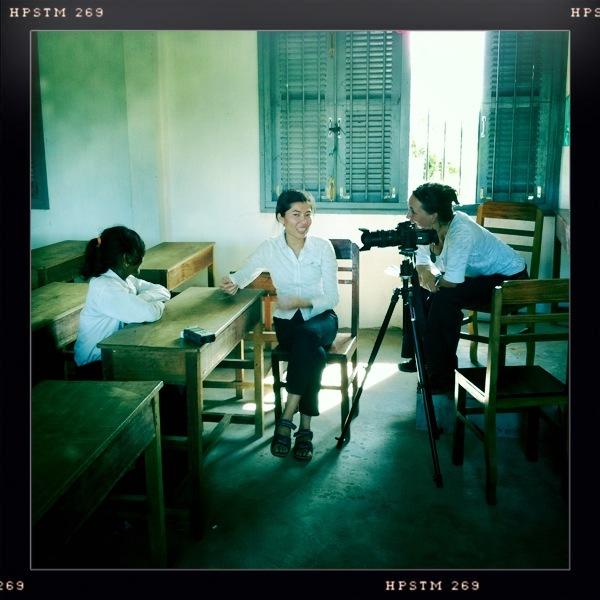 Producer Martha Adams interviews Cambodian girl