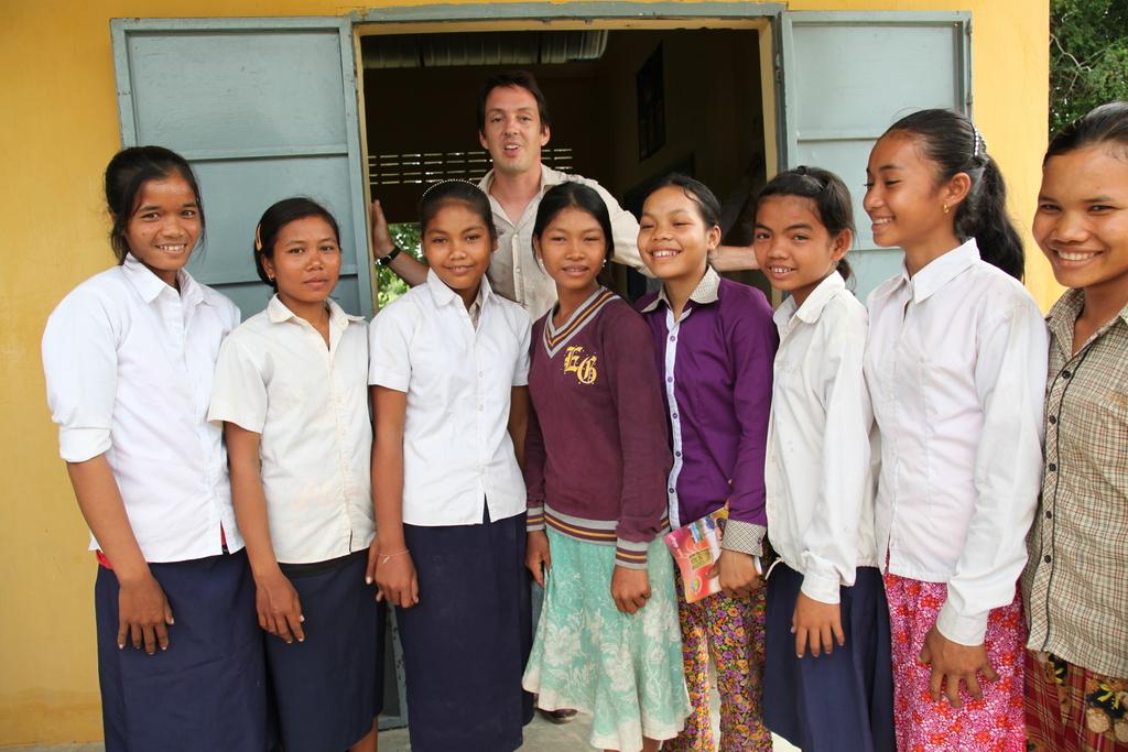 Director Richard Robbins at a school for girls