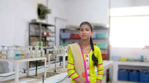 Zeba in her science lab at college
