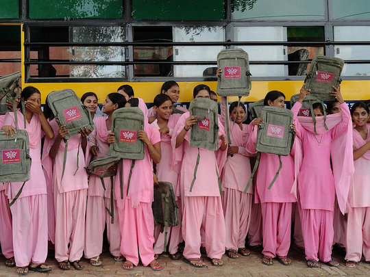Blossom Bus girls get back-to-school supplies