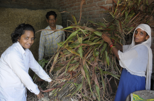 Kamini at home with her parents