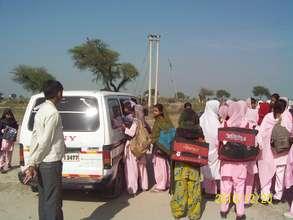 Murshida and Babupur girls catch the Blossom Bus