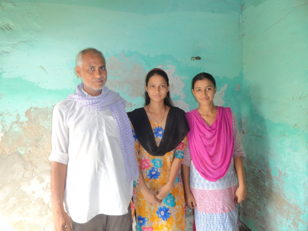 Rakhee and Raveena with their father