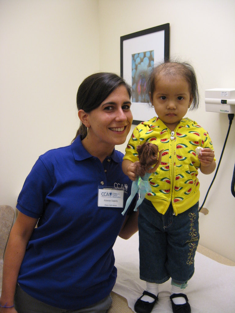 Little Natali stands tall with her Chemo Pal.
