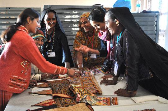 Kala Raksha artisans study textiles in the Museum