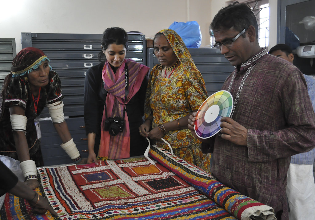 Artisans study the collections