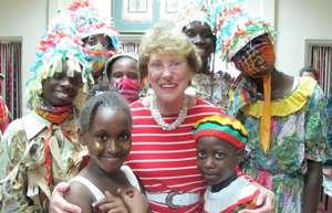 Board member Rita Salzman with young dancers