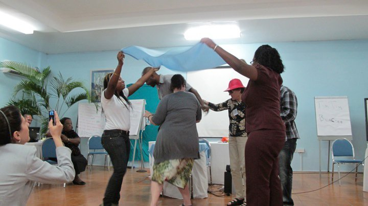 Participants enact water level raising