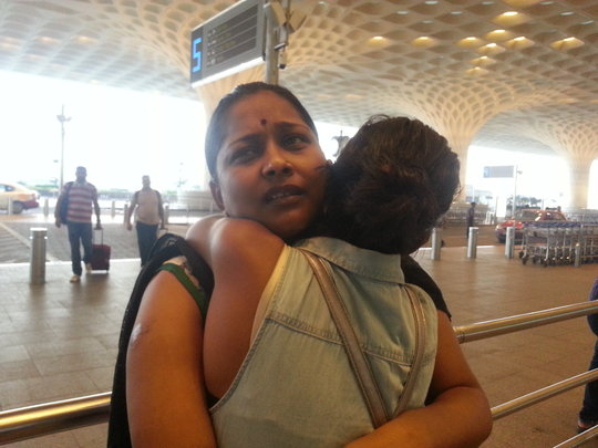Teary Goodbyes at the Airport (Sheetal's Mom)