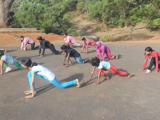 Morning Exercise at Rural Camp in Maharashtra