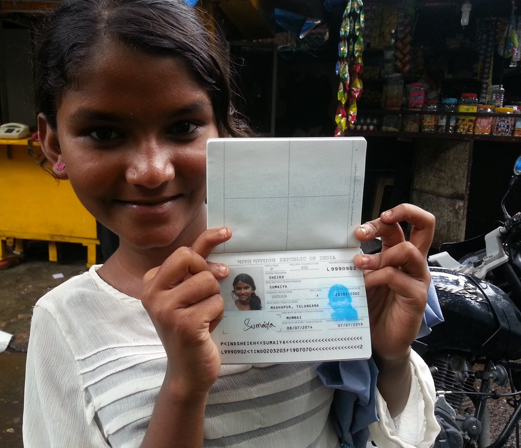 Sumaiya with her passport! :)
