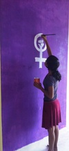 Aparna painting the symbol of female empowerment