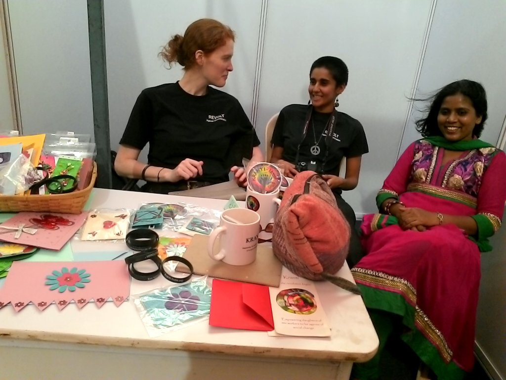Staff making a living selling our handmade cards!