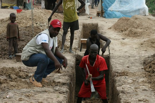 Building latrines to meet urgent sanitation needs