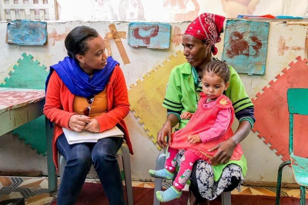 Mercy Corps Ethiopia team member Tihitena, left