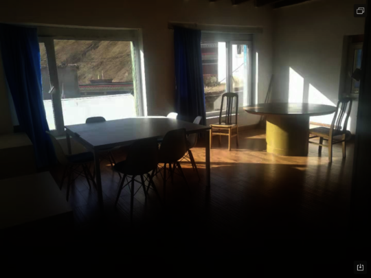 Redone dining rm: hardwood floors and new windows