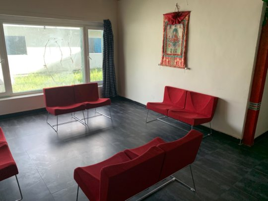waiting room with new tile, new furniture