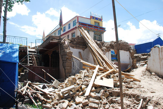 the remains of Surmang Foundation office