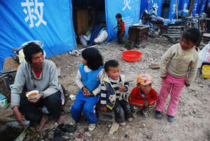 family in tent city