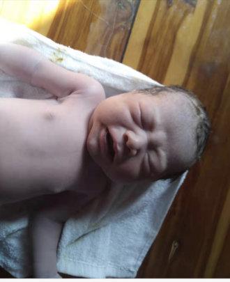 little boy born at clinic