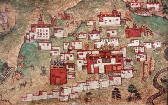 125 year old drawing of Surmang Monastery