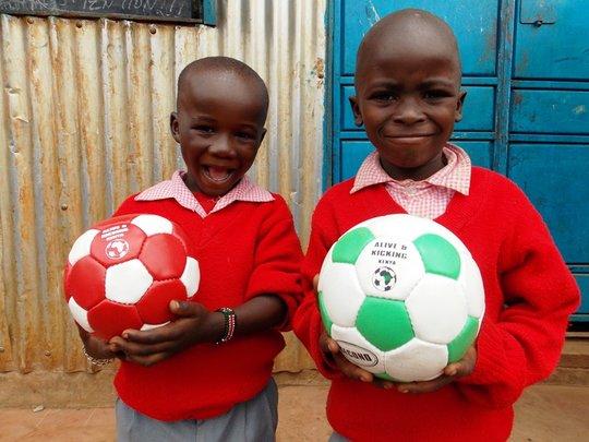 Receiving donation of balls