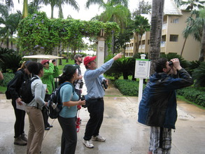 Cornell students observing birds in the PC Resort