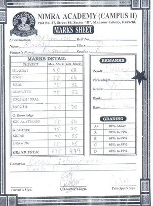 Secondary School grade report