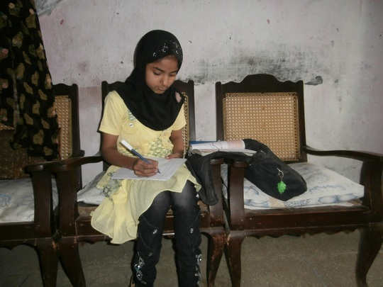 Amna doing homework