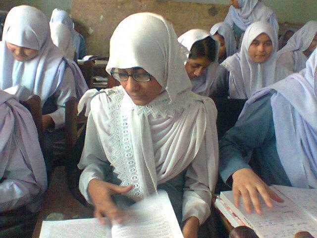 Fareeda reading in class