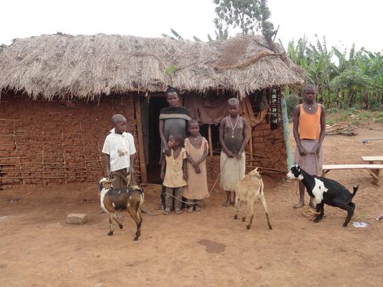 Kyamlipa with her children and the three goats