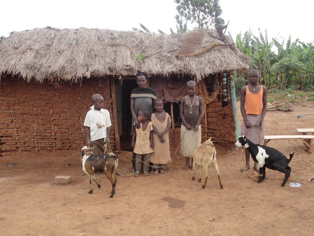 Kyamlipa with her children and the three goats